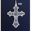 742 Double Sided Orthodox Baptism Silver Cross With Ruby & Emerald