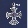 743 Double Sided Orthodox/Byzantine Baptism Silver Cross With Ruby & Emerald