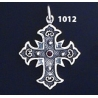 1012 Double Sided Orthodox/Byzantine Baptism Silver Cross With Ruby & Emerald