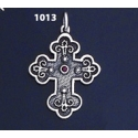 1013 Double Sided Orthodox/Byzantine Baptism Silver Cross With Ruby & Emerald
