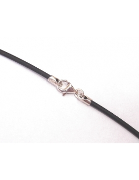 Black rubber chord with silver ends - 42 cm