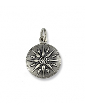 614 Vergina Macedonia Sun pendant in Sterling silver (Greek Jewelry Shop)
