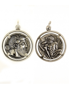 774/B Dionysus/Bacchus phallic Satyr coin Greek mythology silver pendant jewelry