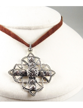 63 Large ornate Greek Orthodox Byzantine cross from Sterling Silver