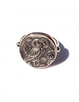 185 Owl of Wisdom sterling silver band ring. Premium ancient silver museum quality ring for ladies & men (Greek Jewelry Shop)