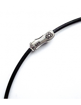 Black rubber chord with Silver motif clasp - any size