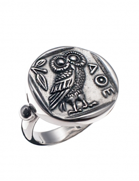 185 Owl of Wisdom sterling silver greek coin owl ring