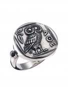 185 Owl of Wisdom sterling silver band ring