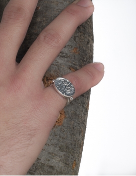 204 Sterling Silver Band Ring with Byzantine Monogram