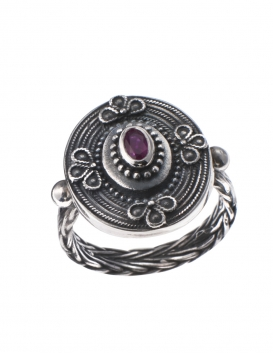 Vintage Greek Jewellery - Silver Band Ring with Ruby