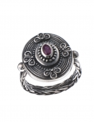 1284 Hellenistic Braided Silver Band Ring with Ruby