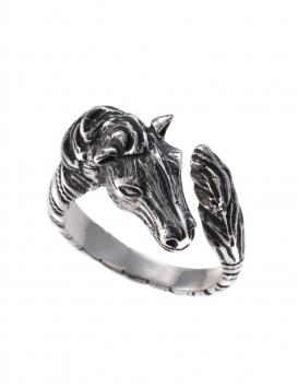 75S Sterling Silver Horse sculpture figurine ring (spiral shank)