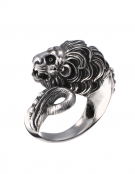 74 Large sterling silver lion torc ring