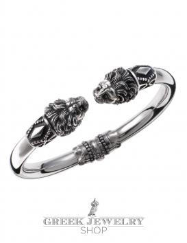 Greek Jewelry Shop's finest silver lion torc bracelet