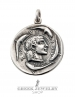 Large ancient Greek coin pendant reproduction - Arethousa (Nymph) with dolphins