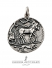 Large silver ancient Greek coin pendant reproduction - charioteer