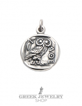 309 Athens tetradrachm coin reproduction, reverse the Greek Owl in sterling silver