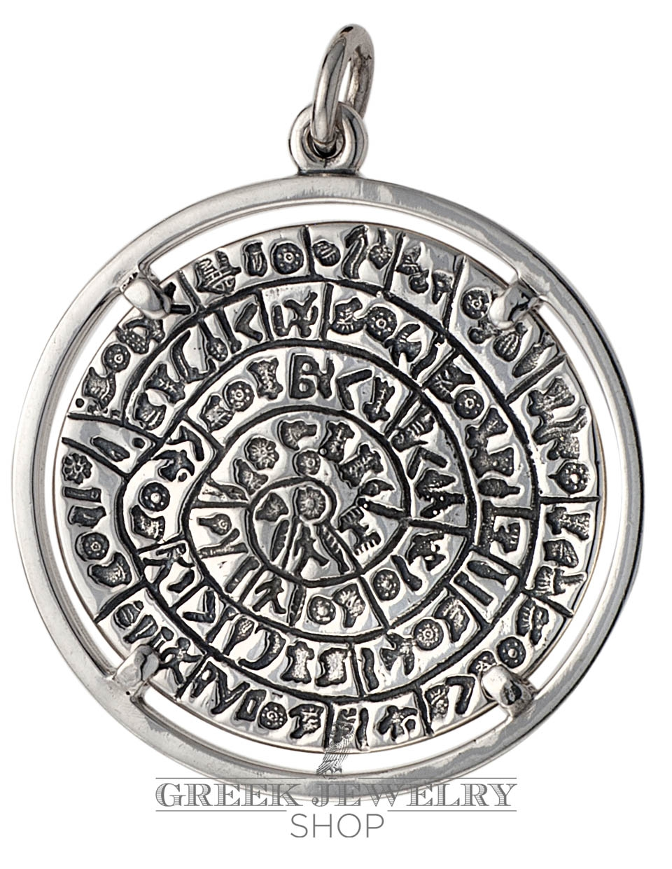 greek silver pendants ancient coins  symbols jewelry  greek  - phaistos disc pendant on silver bexel silver  extra large