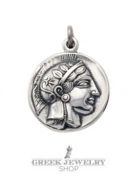271 Silver ancient Greek coin pendant reproduction with goddess Athena