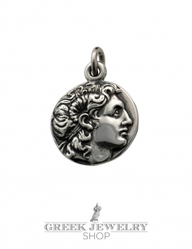 Alexander the Great portrait coin (Lysimachos). Greek coin pendant in silver
