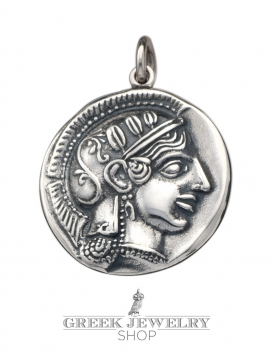 Sterling silver Athena and Owl of wisdom coin pendant. An ancient greek coin jewelry reproduction 273