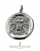 273 Athens dekadrachm - Athena and the owl of wisdom coin pendant