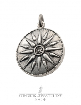 Macedonia Star/Sun/Starburst pendant in solid sterling silver - Large