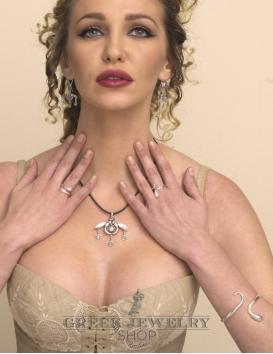 Greek Jewelry: Malia bees pendant in sterling silver from Greek Jewelry Shop