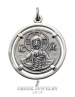 Byzantine Christ Pendant. Sterling silver Jesus pendant from Byzantine coin