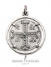 Byzantine silver crucifix coin Pendant. Sterling silver Jesus Christ pendant with Byzantium coin