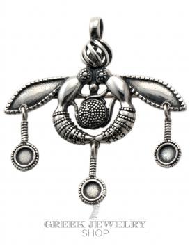 Malia bees silver pendant & brooch extra large - Minoan jewellery