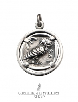Silver Athens tetradrachm coin pendant jewelry. The wise owl of Athens