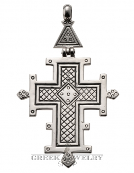 151 Large Hinged Cross With Geometric Carving (XL)