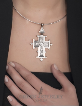 151 Large Hinged Byzantine museum Cross pendant With Geometric Carving (XL) from silver