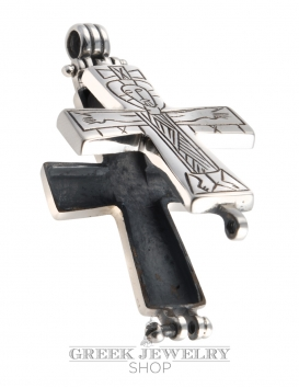 650 Reliquary Cross Pendant. Sterling silver - side A Jesus Christ engraving