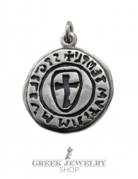 Sigilium templi cross seal templar pendant (cross pattée) in sterling silver