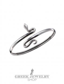 238/B Sterling Silver Coiled Minoan Snake (S) Greek jewelry shop