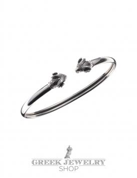 Best quality Sterling Silver Greek Ram Torc Bracelet (S) - Greek Jewelry Shop