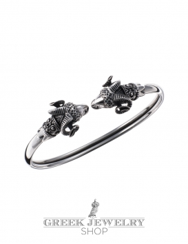 Sterling silver ancient Greek Ram torc bracelet jewelry by Vaphiadis
