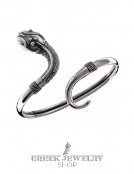 Single headed ornate sterling silver snake bracelet