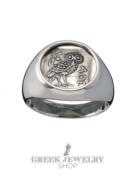 Greek silver Owl Of Wisdom chevalier coin ring - silver pinky ring