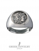 1102 Herakles/Hercules Alexander the Great lifetime chevalier coin ring (M)