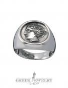 1106 Silver Aphrodite (Venus) graduated coin ring M