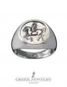 1108 Pegasi/Pegasus silver chevalier coin ring (M)