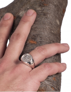 Pegasus mythological horse silver chevalier coin ring. Greek jewelry shop