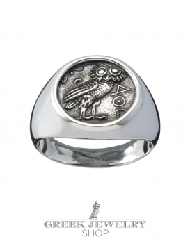 Greek Owl ring from silver. Pinky-ring