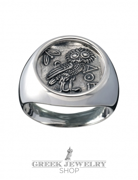 Silver owl ring. Greek Jewelry shop