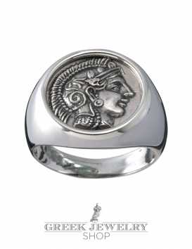 1115 Goddess Athena chevalier coin ring, (L)