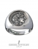 Greek Goddess Athena. Large silver coin ring. Greek Jewelry shop