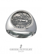 1120 Charioteer crowned by Nike (victory) chevalier silver coin ring (L)